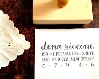 CALLIGRAPHY ADDRESS STAMP - Return Address FullJustified - Script & Block Caps - Custom, Wedding Envelopes - Wooden Handle