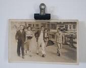 vintage sepia street scene postcard from australia