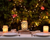 Set of 3: 1 Quart, 2 Pint Size Lace Mason Jar Vase Lantern, Wedding Decor, Spring Decor, Mother's Day,  Spring Wedding, Summer Wedding