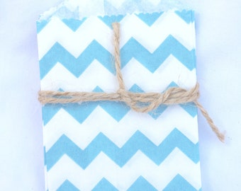 Tiny CHEVRON Bags--aqua--party favors--gifts---weddings--showers--20ct-
