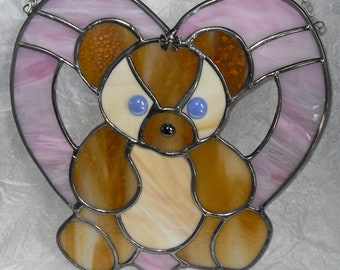 Stained Glass Teddy Bear in Heart Pink for Baby Girl
