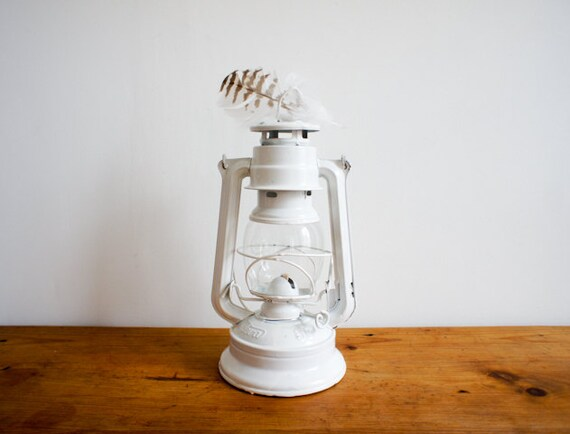 vintage hurricane lantern made by MEVA Czechoslovakia in white