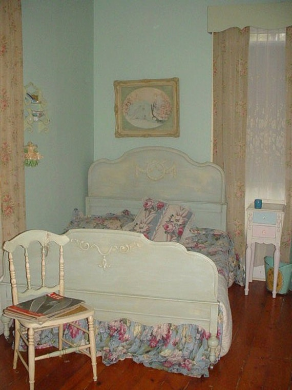 Vintage Shabby Chic Full Bed Barbola Roses Repainted 1930s Cottage Robins Egg Blue Distressed