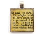 Believe Pendant, Word Pendant, Inspirational Dictionary Page Sepia Square Resin Jewelry Charm