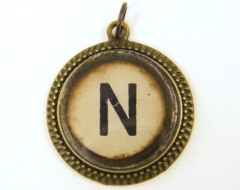 Letter N Initial Pendant - Alphabet Personalized Resin Brass Circle Monogram Rustic Jewelry Charm