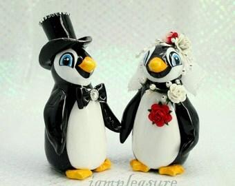 Penguin wedding topper cake topper - bride and groom personalized elegant love bird PT0001