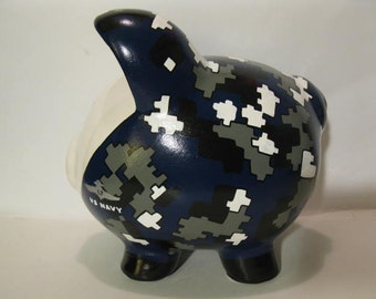 Personalized, Handpainted, Camouflaged Military Piggy Bank -  MADE TO ORDER