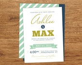 Modern Wedding Invitation, blue and green wedding invitation, custom wedding invitations, unique wedding invitations, bold wedding invite
