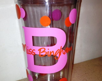 Personalized  Tumbler with Lid and Straw