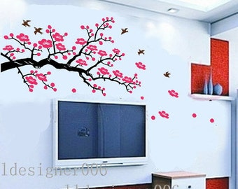 Cherry blossom wall decal wall sticker  pink flower decal tree decal birds decal wall decor wall art- Cherry Blossom