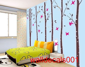 Tree Wall Decal nature room decor wall Stickers wall decor- set of 6 100in birch trees