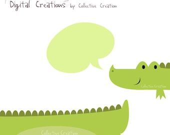 Two Part Crocodile Digital Clipart - Personal and Commercial Use