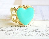 Mint Ring Mint Gold Heart Ring Cute Sweet Adorable Turquoise Teal Seafoam Aqua Vintage Style Ring Friendship Bridesmaids Sister Best Friends
