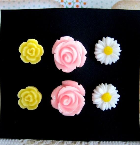 Flower Earrings Set Tiffany Blue Flower White Ivory Yellow Pink Stud Post Earrings Lot of 3 NICKEL FREE - Back to School