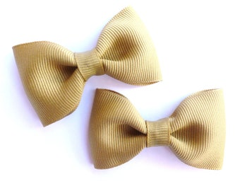 khaki SCHOOL UNIFORM hair bows-set of 2 pigtail hair bows--perfect for back to school uniforms