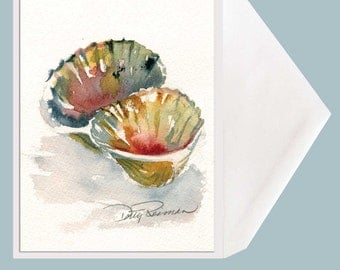 Seashell Greeting Card - Double Scallop by Dotty Reiman  - option to add personal message inside of card!