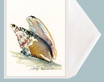 Mollusk Watercolor Shell Painting Greeting Card - by Dotty Reiman - option to add personal sentiment inside stationary!