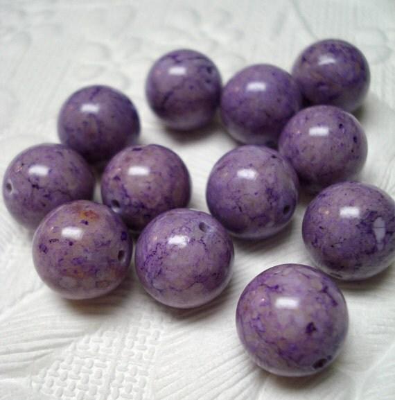 Beads Riverstone Lilac Purple Round 12mm (4)