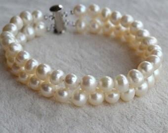 real pearl bracelet, 2 Row  8 inches 6-7mm White Freshwater Pearl Bracelet ,bridesmaid bracelet, real pearl bracelet, women bracelet