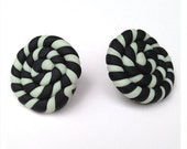 Black and Glow in the Dark Candy Polymer Clay Stud Earrings