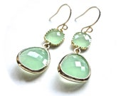Mint Gold Earrings - Beautiful Glass Dangle Earrings  - Bridesmaid Jewelry - ASimpleKindOfFancy