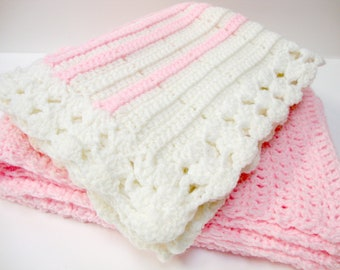 Vintage Pink and White Hand Crocheted Baby Afghans