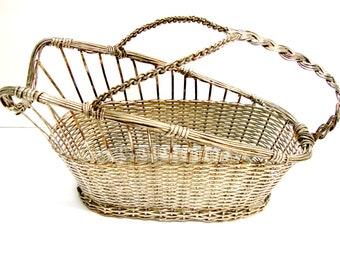 Vintage Silverplated Wire Basket Bottle Holder
