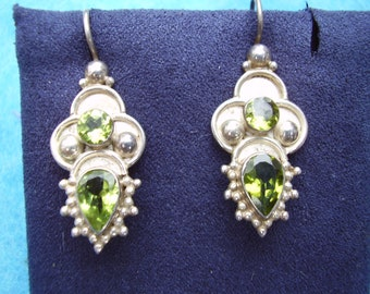 Vintage Sterling Silver Peridot Earrings