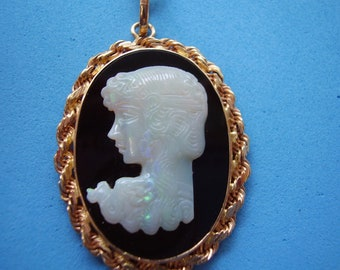 Custom Made 14Kt Gold Carved Opal on Black Onyx Cameo
