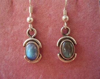 Vintage Hand Made Sterling Silver Labradorite Earrings