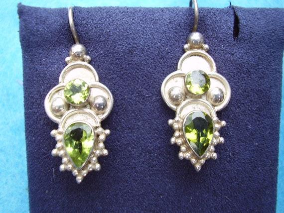 Vintage Sterling Silver Peridot Earrings