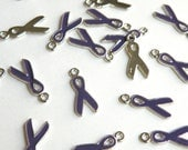 10 Purple Awareness Ribbon enamel charms antique silver 20x9mm EA546Y-P