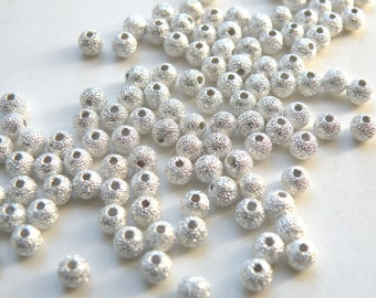 50 Silver Stardust spacer beads round plated copper 4mm DB01253