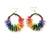 Rainbow Spike Hoop Earrings, colorful polymer clay tribal gipsy rock boho punk summer color crazy carnival