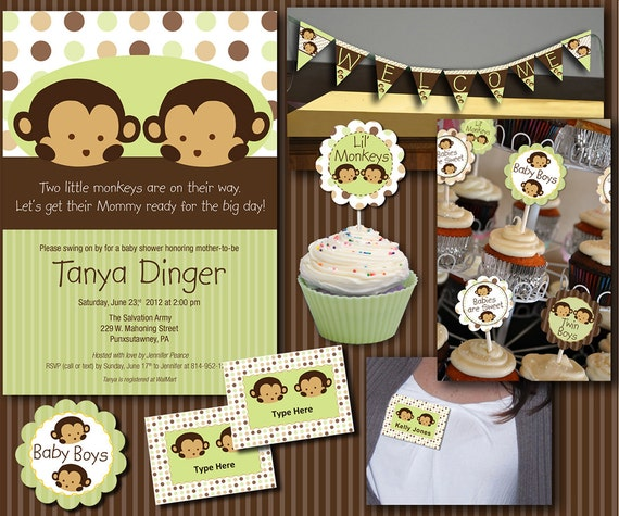 Twin Monkey Baby Shower Essentials Printables Collection