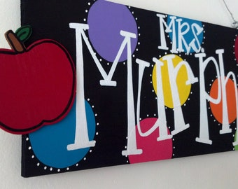 Personalized Teacher Sign- Apple