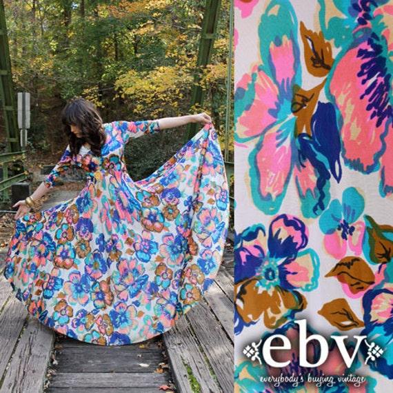 Vintage 70's Kaleidoscope Colors Floral Hippie Boho Maxi Dress S M