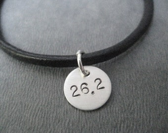 26.2 Marathon Bracelet - Sterling Silver Charm on Leather with Sterling Silver Plated Clasp - Leather Marathon Runner Bracelet - Marathon