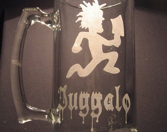 hatchet man juggalo, Insane clown posse, icp,  inspired Beer Mug Engraved/ etched Glass