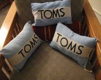 SALE: Upcycled TOMS Decorative Throw Pillow