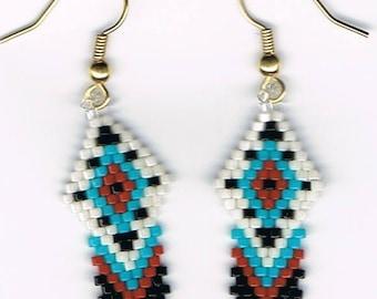 Hand Beaded Native American design earrings