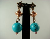 Copper and Turquoise Drops (gift for her, minimalist jewelry, simple earrings, small drop earrings, OOAK)