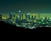 "Los Angeles Panoramic Mounted Art Print 10""x20"" Downtown Skyline // Night Photography // California Photographer // Cityscape DTLA"