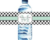 Waterproof Water Bottle Labels - Mint and Black Printed labels - Any colors available