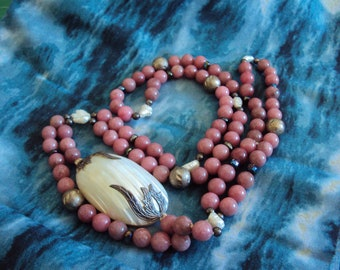Rhodocrosite Beaded and Shell Endless Neclace
