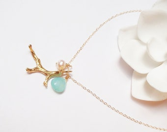 Gold Coral Chalcedony Charm Necklace, 14K Gold Filled Chain, Made in Hawaii