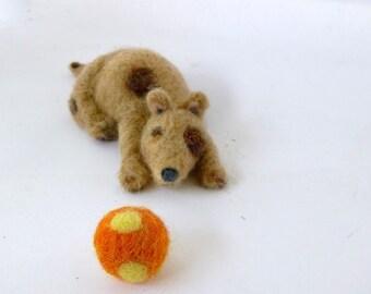 Needle felt dog art doll primitive animal folk art doll polkadot ball Spot
