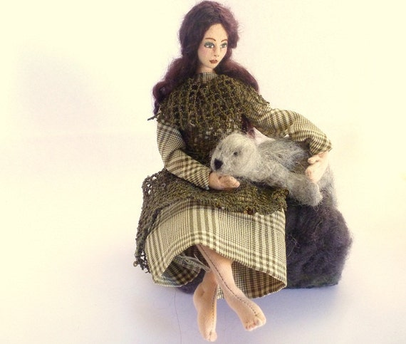 Art doll cloth folktale Selkie soft sculpture needlefelt seal