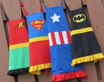 Apron superhero apron adult (no ruffles on men's apron) (choose your superhero)