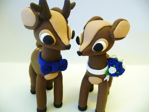 Deer Couple Wedding Cake Topper - Choose Your Colors